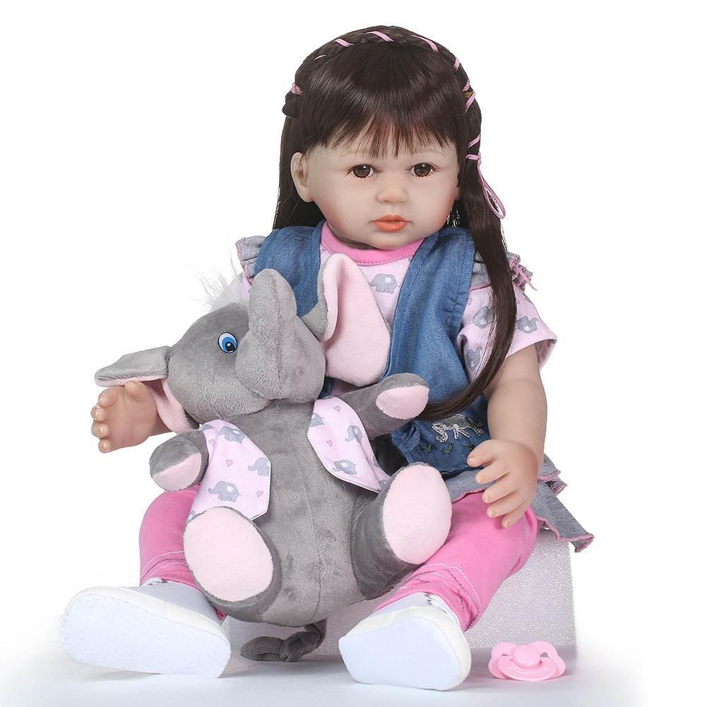 chinatera NPK 23inch Cute Soft Silicone Reborn Baby Doll Realistic Imitation Long Hair Newborn Girl Bathing Playmate Toys