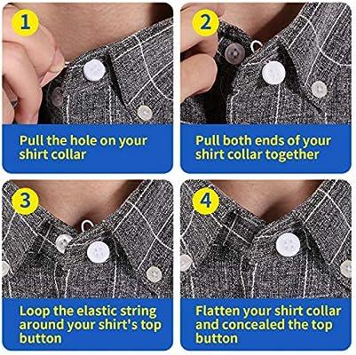 THOMEN Premium Elastic Button Extenders for Shirt Dress and Coat Tie Neck Extender for Shirt 18 Pcs Collar Extenders for Men 3 Colors