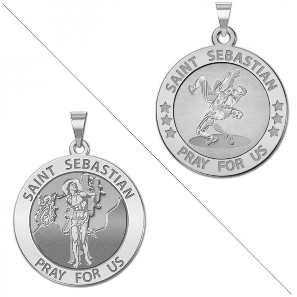 Wrestling - Saint Sebastian Doubledside Sports Religious Medal - 2/3 Inch Size of Dime, Sterling Silver by PicturesOnGold.com
