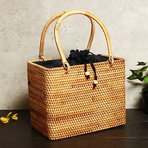 Woman Square Summer Boxes Bag To Hollow Handmade Hollow Bag Woman Rattan Hand Pockets Straw With Handbag Tote Out 28x16x22 Beach q66BwIp