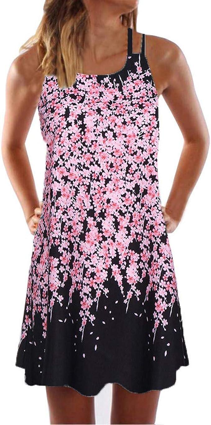 Kaitobe Womens Dresses Casual Summer Sleeveless Floral Print Loose Short Mini Dress Tunic Dress Boho Beachwear Dress