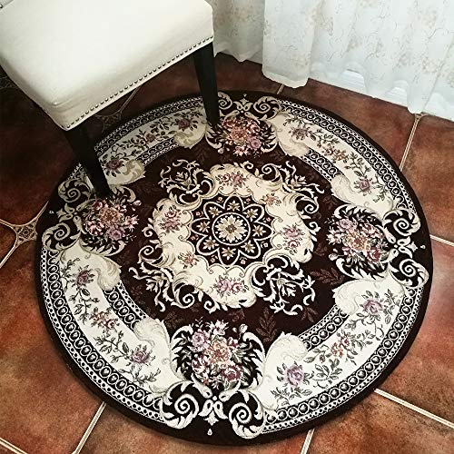 Hihome Non-Slip 4-Feet Round Area Rugs Retro Floral Shag Carpet for Living Room Bedroom Dining Room (Round Brown)