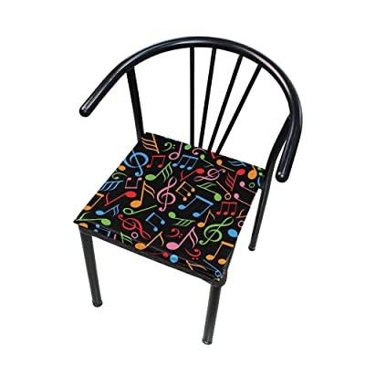 """Bardic HNTGHX Outdoor/Indoor Chair Cushion Musical Note Square Memory Foam Seat Pads Cushion for Patio Dining, 16"""" x 16"""": Home & Kitchen"""
