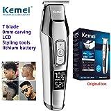 KEMEI Men's LCD Display Baldheaded Hair Clipper Professional Beard Hair Trimmer Tools Wireless Electric Haircut Cutter…