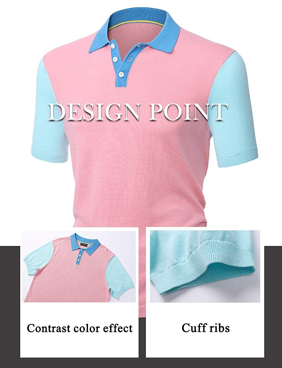 Mens Polo Shirt Short Sleeve Contrast Color Stitch Knit Cotton Polo T-Shirts AFAIK As Far As I Know