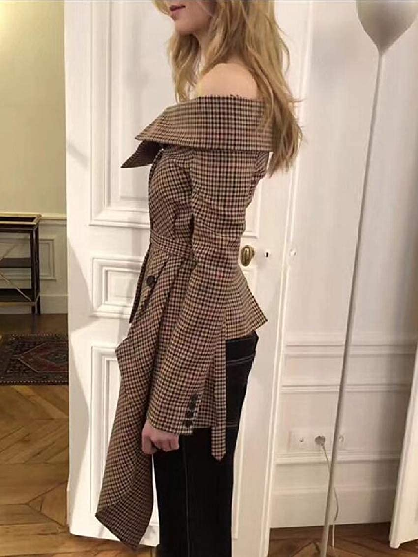 Hokny TD Womens Asymmetric Slim Fit Long Sleeve Cold Shoulder Plaid Jackets