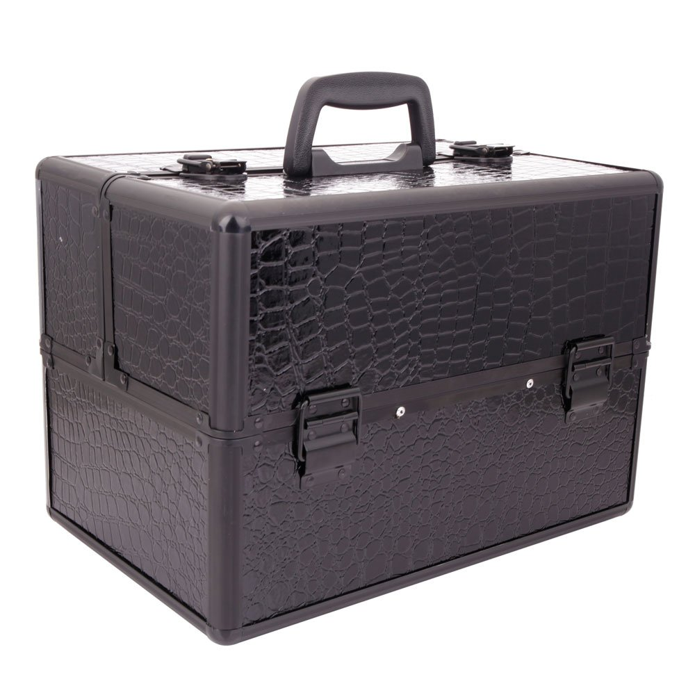 Portable Foldable Inner Layers Cosmetics Storage Case Jewelry Box Black by LOLPI