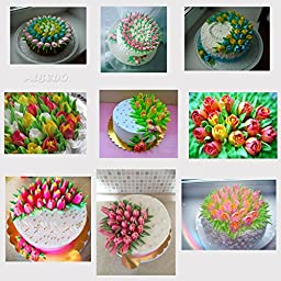Russian Piping Tip Set, Reusable Kit, Cake Decorating Icing Flower Supplies c/w 10 Disposable Large Frosting Pastry Bags & Gift Box