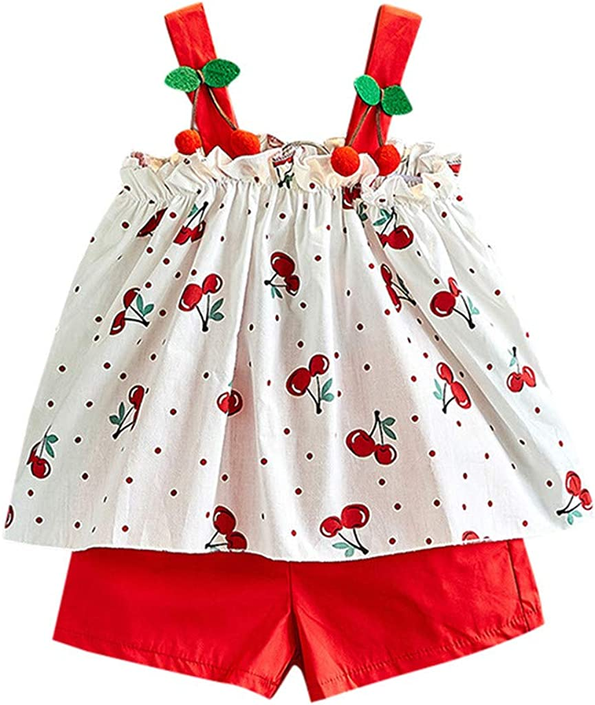 Womola 2PCS Fashion Toddler Kids Baby Girl Clothes Outfit sleeveles Halter Floral Vest Top Shorts Set Suit
