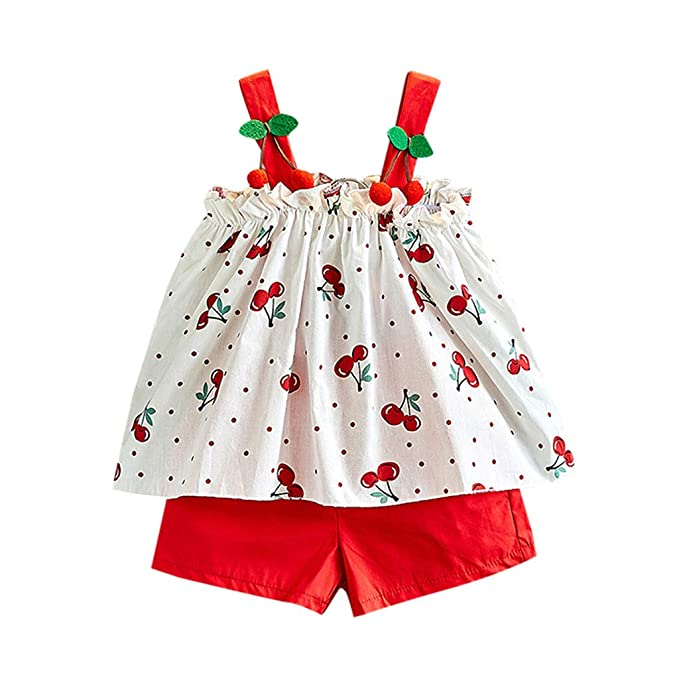 2-7Years,SO-buts Toddler Kids Baby Girl Summer Clothes Short Sleeve T-Shirt Tops+Flower Shorts Pants Set Outfits