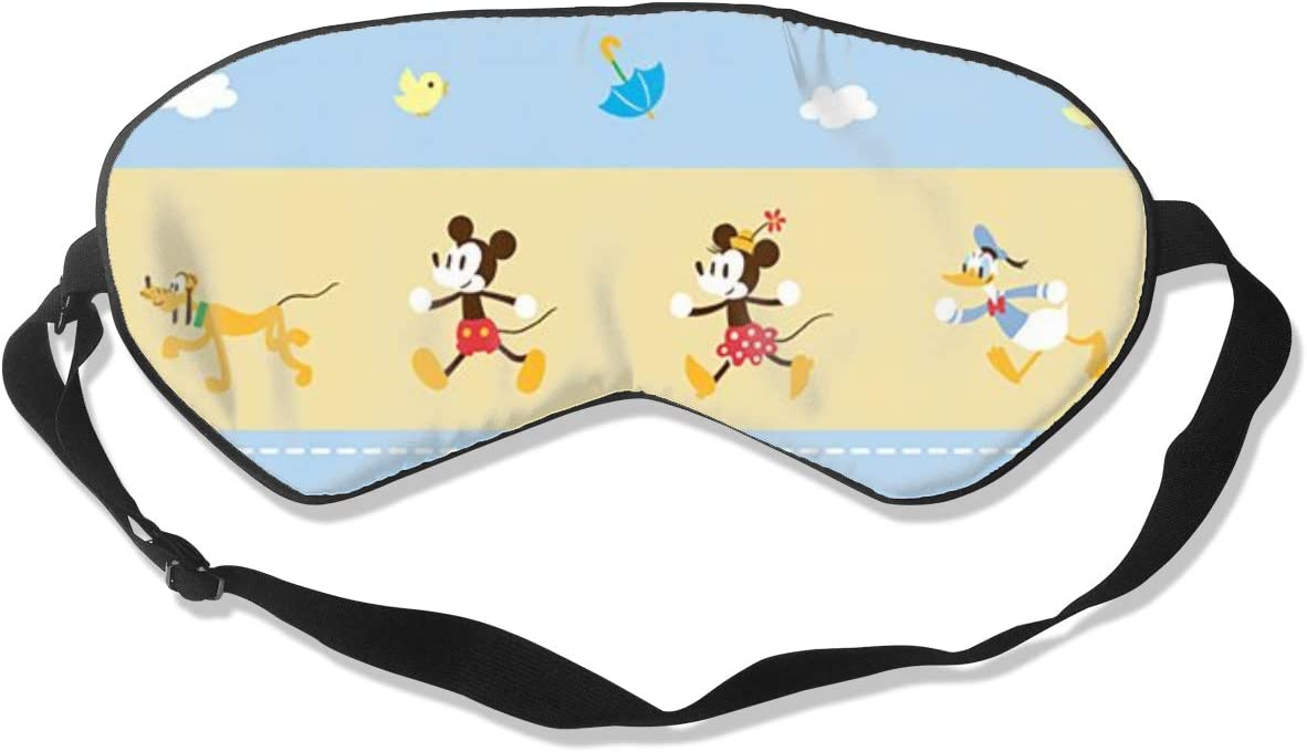 JINUNNU Mulberry Silk Sleep Mask and Blindfold Happy Mickey and Minnie Comfortable and Super Smooth Eye Mask with Adjustable Strap
