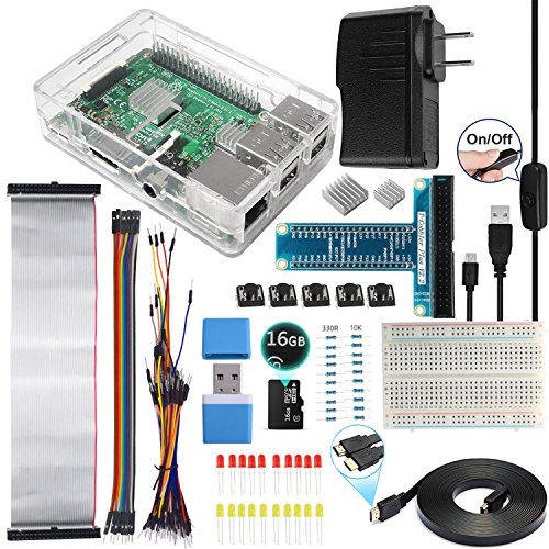 Smraza Ultimate Starter Kit for Raspberry Pi 3 B+, 3 Model B Includes Clear Case,16GB Micro SD Card,2.5A Power Supply,Breadboard,GPIO Breakout Board,Ribbon Cable and HDMI Cable (Set Via Chip Ram)