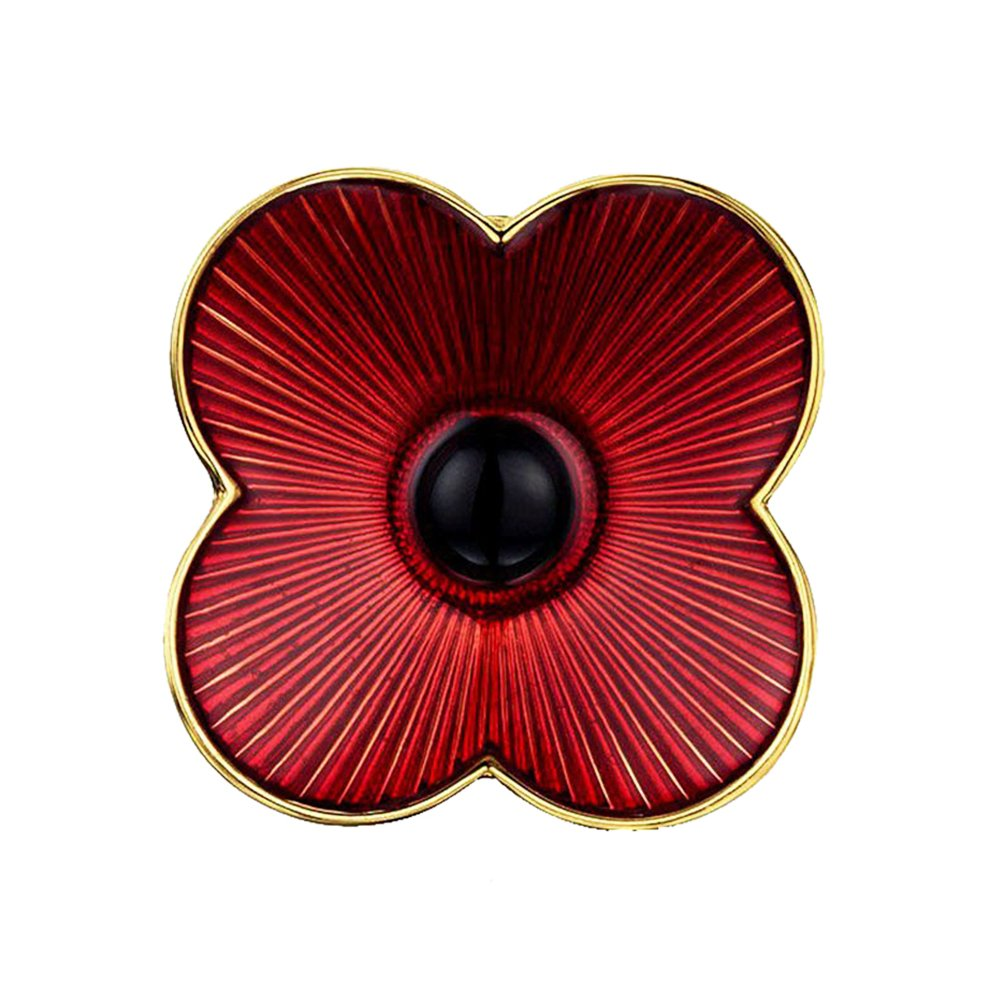 Poppy Flower Brooch Lapel Badge Pin Gold Brooch for Women Red Enamel Flower Pin Brooch Love Dream LD-BC-01-0001