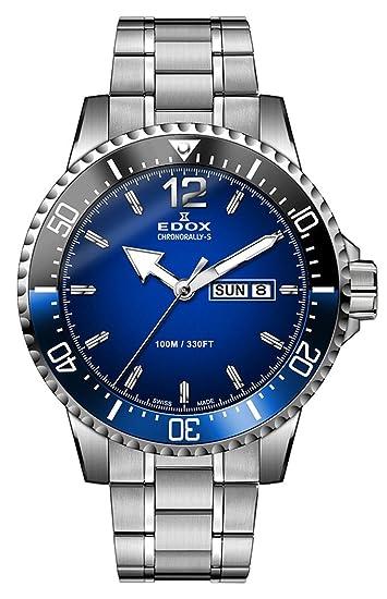 EDOX hombre chronorally-s 44 mm correa de acero y carcasa reloj analógico de cuarzo esfera azul suizo 84300 3 nbum bubn: Amazon.es: Relojes