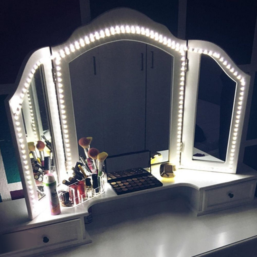 LED Vanity Mirror Lights Kit, MZTDYTL 13ft/4M LED Mirror Light Strip 240 LEDs Soft Daylight White Hollywood Style Mirror Light with Dimmer and Power Supply for Makeup Dressing Table,Mirror not include