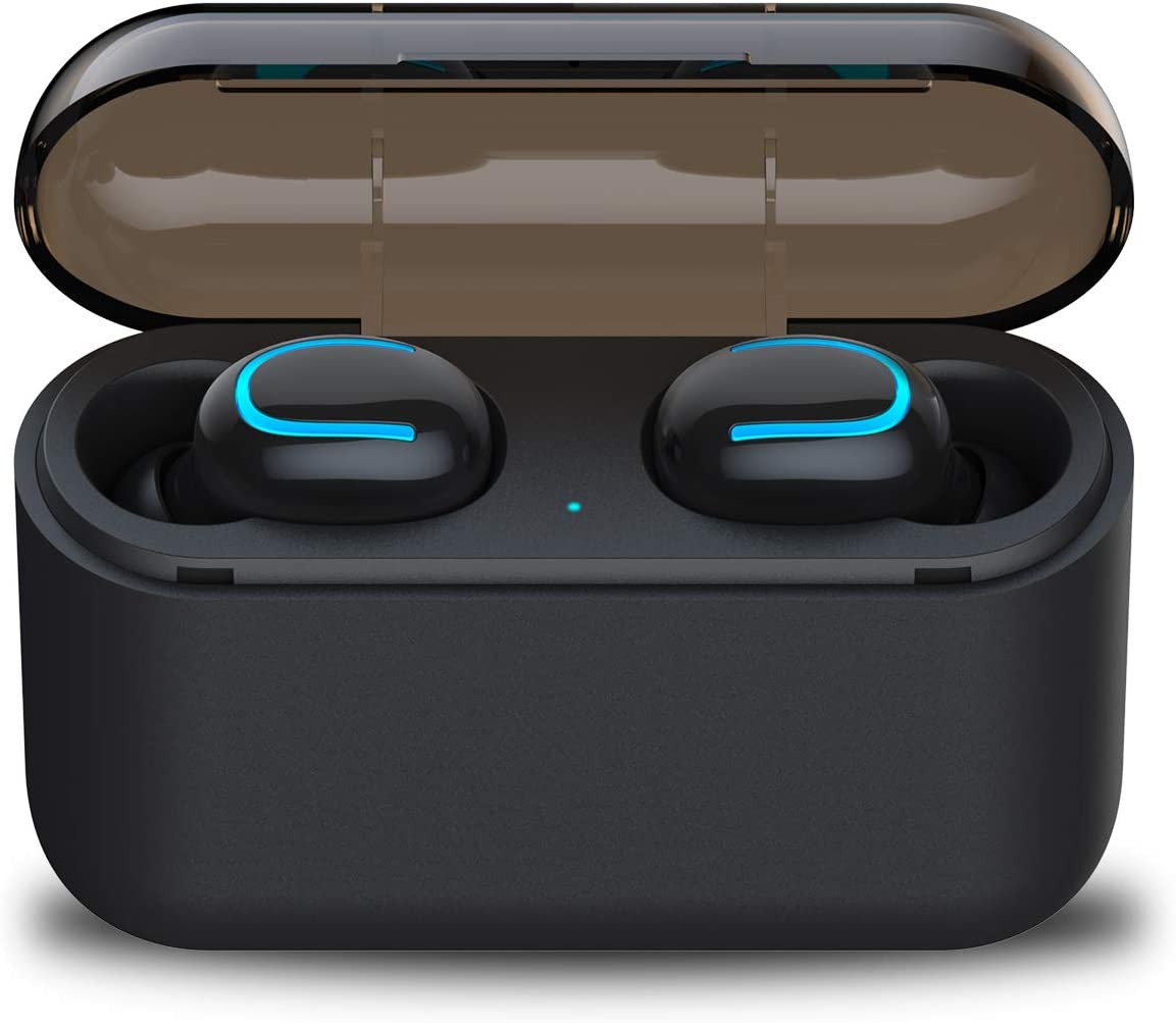 Wireless Earbuds Mini TWS Bluetooth Headset with 2600 mAH Charging Case, Touch Control V5.0 Stereo Sound Sweatproof Headphones Mic Compatible iPhone iPad Samsung and More.