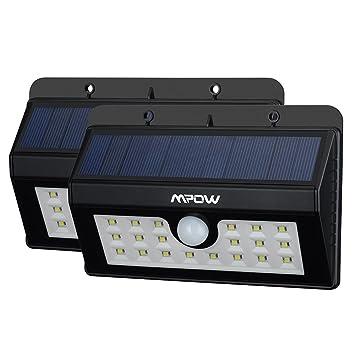 lampara solar led impermeable con sensor de movimento mpow mah foco solar para jardn