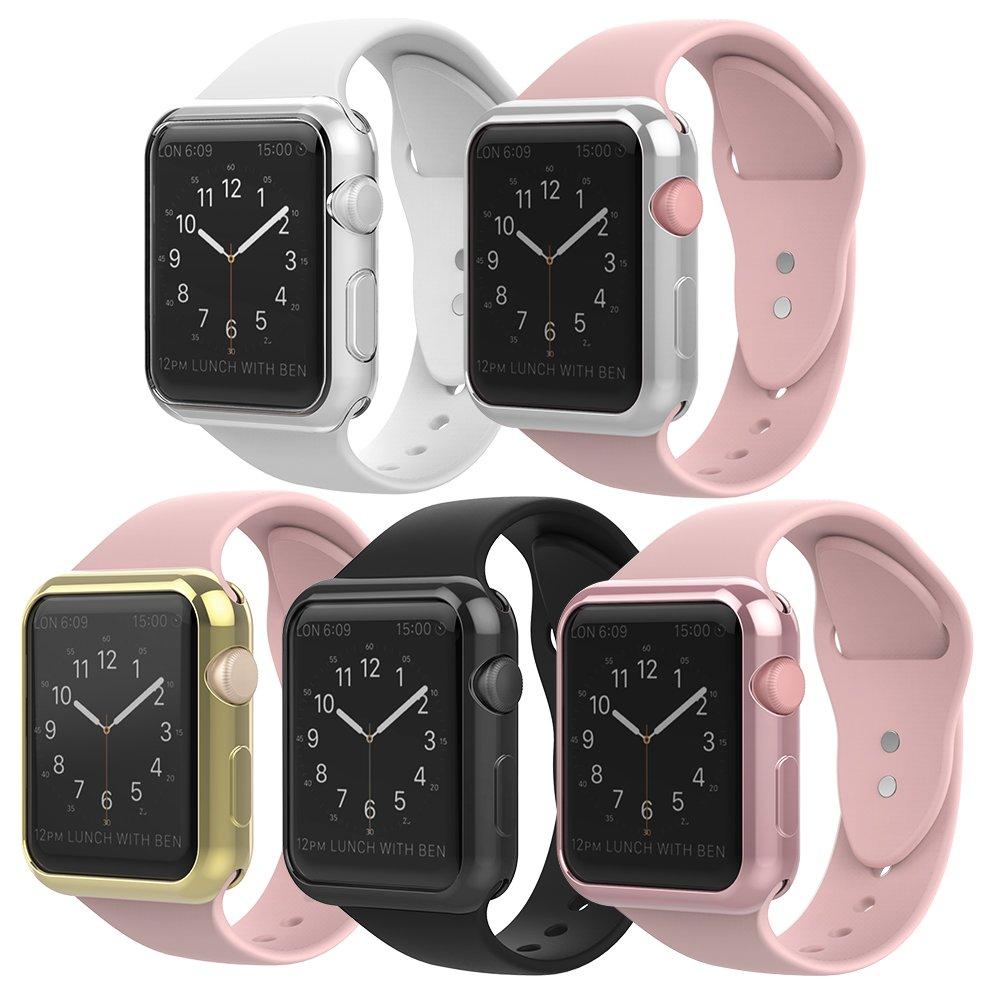 Simpeak Case Frame for Apple Watch 38mm,[5 Packs] Simpeak Slim Scratch Resistant Soft Case for 38mm Apple Watch Series 2,Transparent, Black, Gold, Rose Gold, Silver by Simpeak (Image #3)