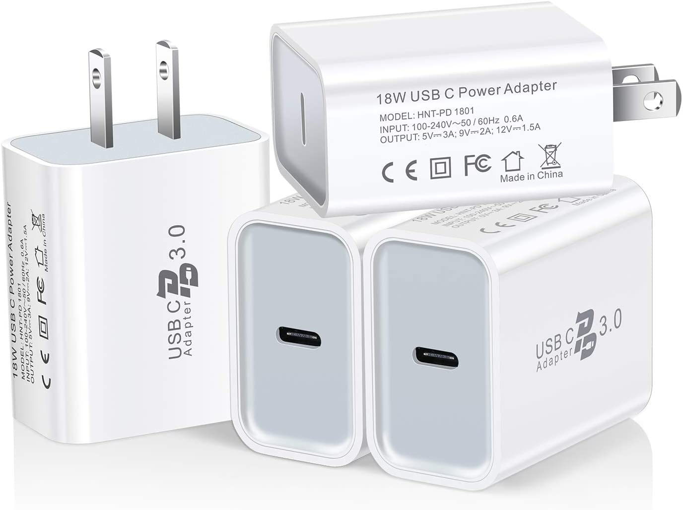 iPhone 11 Pro Max//X//Xr//Xs//8p 2-Pack S10//S9 USB C Wall Charger Excgood 18W PD 3.0 USBC Charger Fast Charging Block Compatible with Pixel 3//3XL//3A//2//4 Galaxy Note 10//9 -White iPad Pro