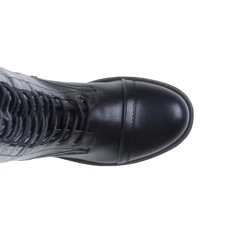 Frauen Ferse unten Höhe des Knie Wade Armee Armee Armee Schnüren Stiefel militärischen Gr. 6ec95c