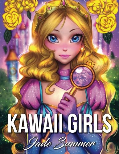 Kawaii Girls: An Adult Coloring Book with Adorable Manga Girls and Cute Fantasy Scenes [Jade Summer] (Tapa Blanda)