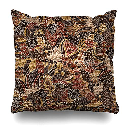 - Ahawoso Throw Pillow Cover Classic Woven Floral Pattern Abstract Ceramic Jacquard Paisley Tissue Jute Design Flower Home Decor Pillowcase Square Size 20 x 20 Inches Zippered Cushion Case