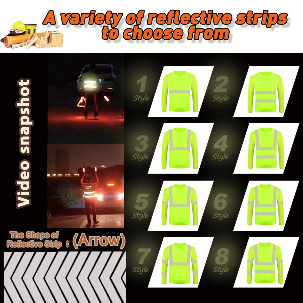 High Visibility Reflective Safety Shirts Customize Logo with Reflective Strips Hi Vis Quick Dry Long Sleeve T-Shirts L, Orange - Style 6