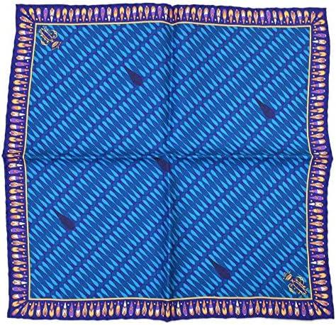 (エミリオプッチ)ポケットチーフ メンズ プッチ柄シルクポケットチーフ(サイズ32×32cm)eep19w136 ブルー