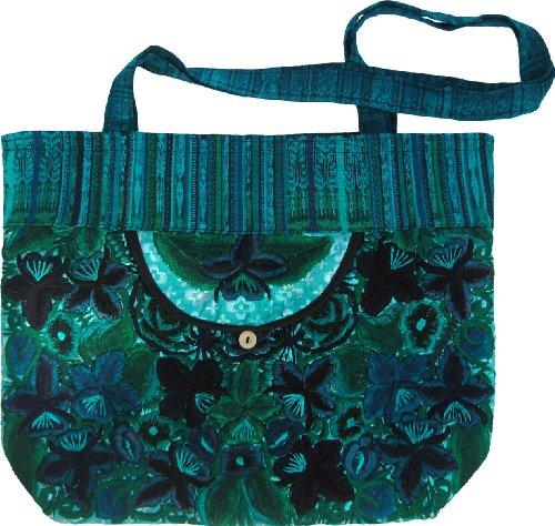 Guatemalan Shoulder Bag - Embroidered Floral Grocery Bag Carry-All (green)