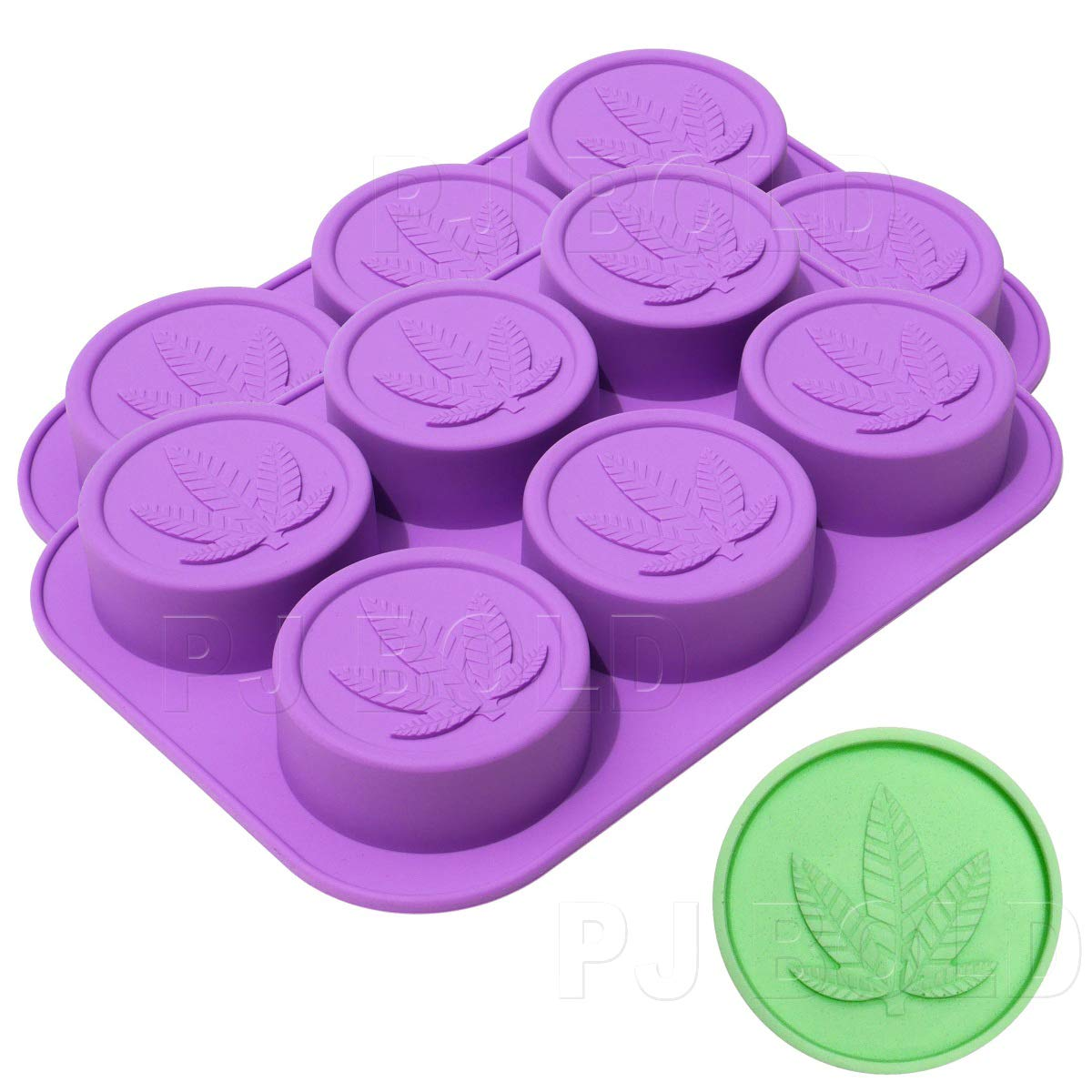 PJ Bold Marijuana Leaf Silicone Soap Butter Candy Mold Tray 2 Pack 12 Cavities Q1051