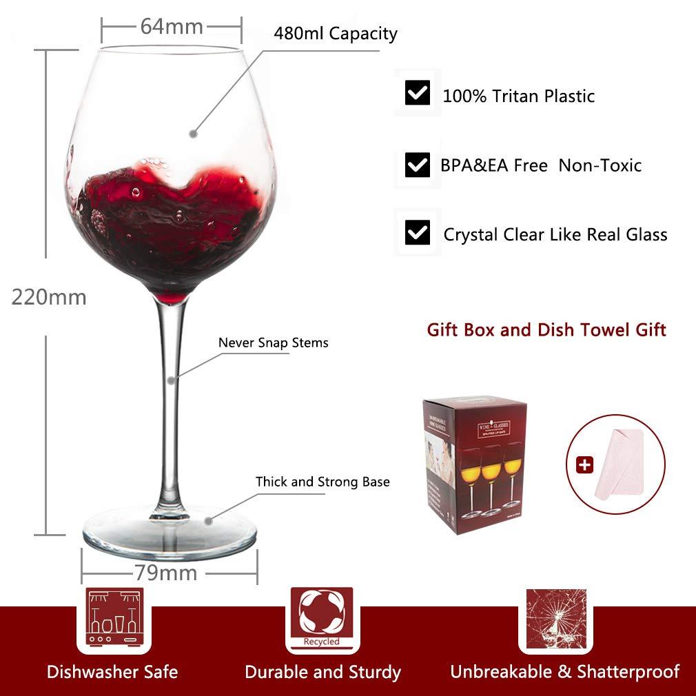 BPA-frei 440 ml plastik Tasse MICHLEY Unzerbrechlich Tritan-Kunststoff weingl/äser gl/äser fur Camping Party rotwein trinkglas