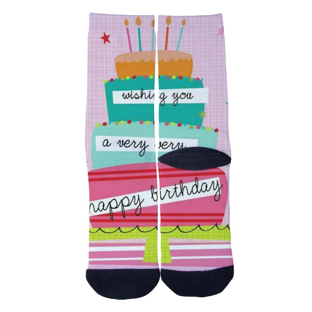 536da291b24e3 TheFun-Z Custom Happy Birthday Socks Novelty Funny Cartoon Crew Socks Elite  Casual Socks at Amazon Men's Clothing store: