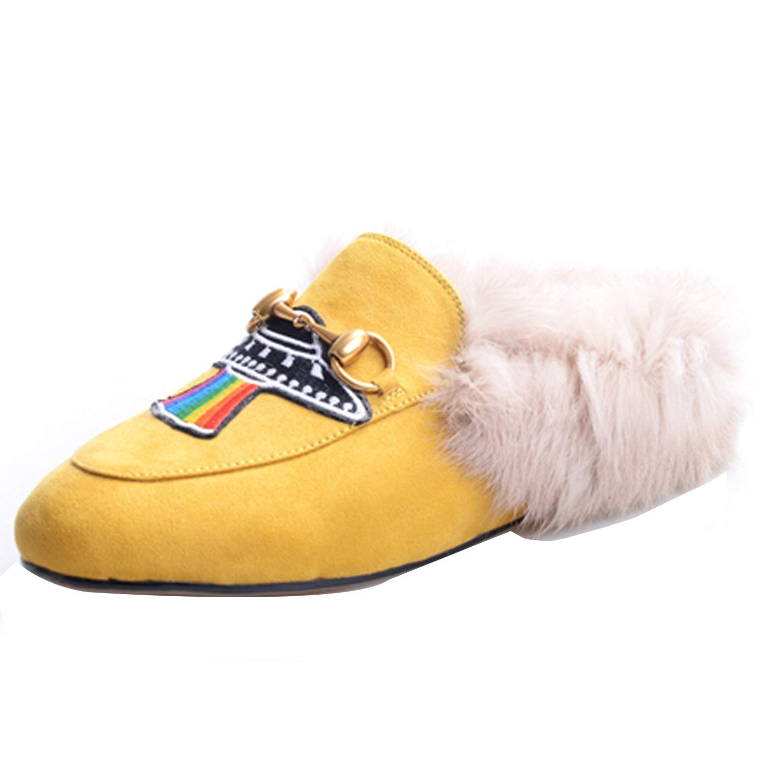 Yellow HEETIST Backless Faux Fur Mules for Women, Round Toe Yellow Suede Flats Outdoor Slipper Flats shoes