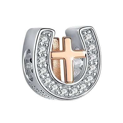 22fba4b47 ANGELFLY 925 Sterling Silver and Rose Gold Plated Cross in Lucky Horseshoe  Bead Charms for Charm