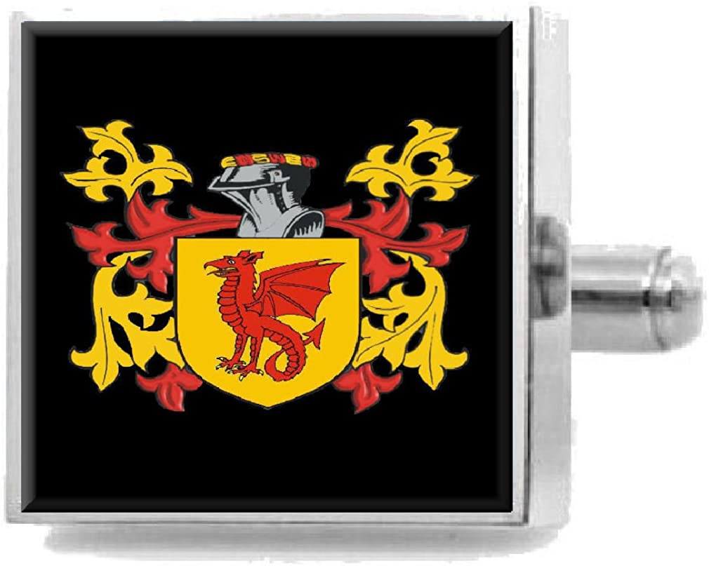 Select Gifts Helme England Family Crest Surname Coat Of Arms Cufflinks Personalised Case