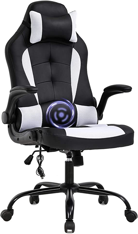 PC Gaming Chair Massage Office Chair Ergonomic Desk Chair Racing Executive PU Leather Computer Chair with Lumbar Support Headrest Armrest Task Rolling Swivel Chair for Women Adults