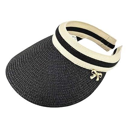 400b8725505 RingBuu Sun Hat - Women Summer Open Top Straw Braided Sun Visor Hat  Contrast Color Stripes