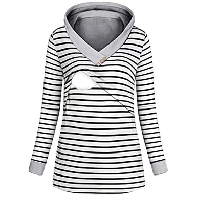 BOLUOYI Womens Nursing Hoodie Long Sleeves Striped Tops Breastfeeding Sweatshirt
