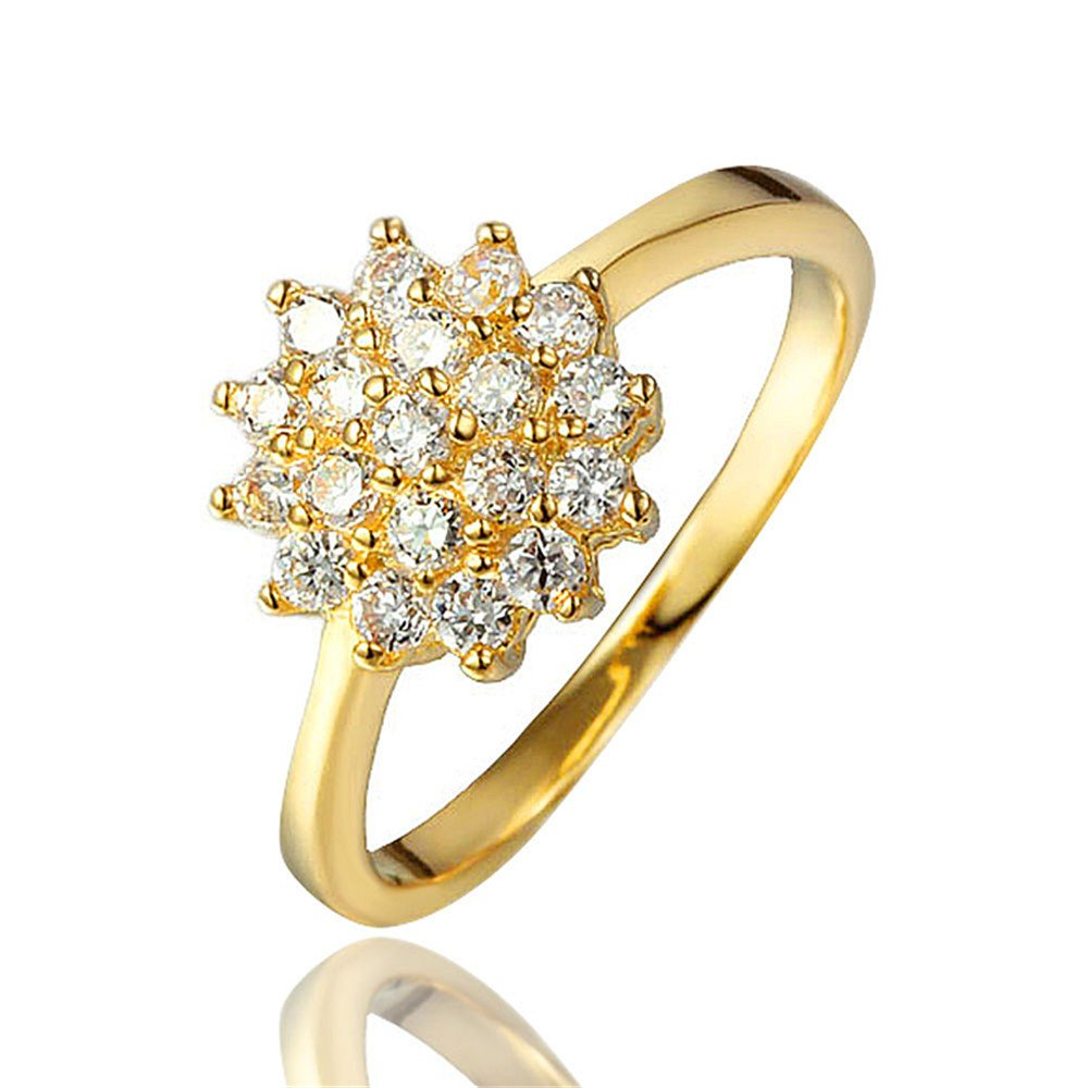BLOOMCHARM Shining Flower 18K Gold Plated Cubic Zirconia Engagement Wedding Eternity Ring, Birthday Gifts for Women Friends Girls (6)