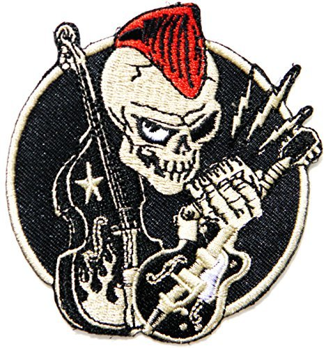 Electric Violin Cello Musical Skull Ghost Mohawk Old School Skool Rockabilly Punk Rocks N Roll Rider Biker Jacket T-shirt Suit Patch Iron on Embroidered Applique Sign Badge Costume