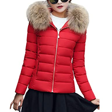 new products f1dfc 561d9 ORANDESIGNE Damen Warm Mantel Wintermantel Kurz Winterjacke Daunenjacke  Dickere Slim Fit Parka Reißverschluss Jacke Übergangsjacke mit Fellkapuze