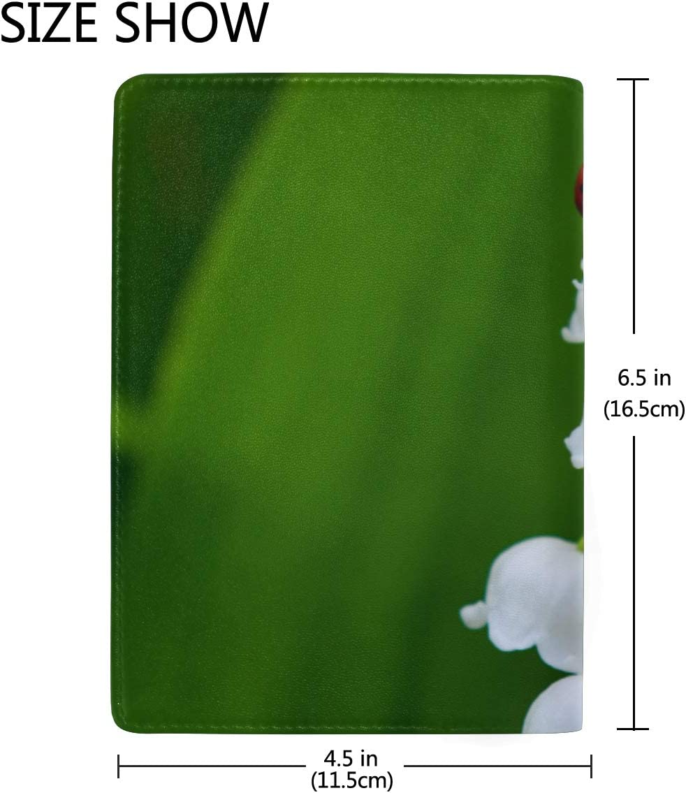 Lily Of The Valley Flowers Blocking Print Passport Holder Cover Case Travel Luggage Passport Wallet Card Holder Made With Leather For Men Women Kids Family