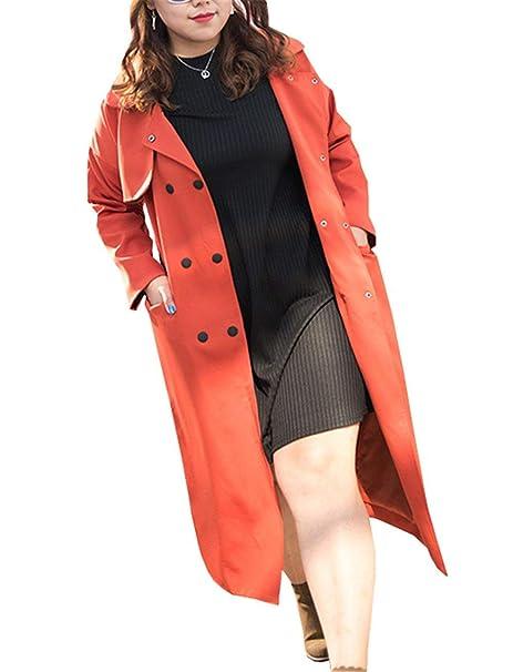 Mujer Parkas Primavera Otoño Largos Abrigos Moda Mode De Marca Color Sólido Elegante Classic Gabardina Manga Larga con Cinturón Botones De Cierre Chaqueta ...