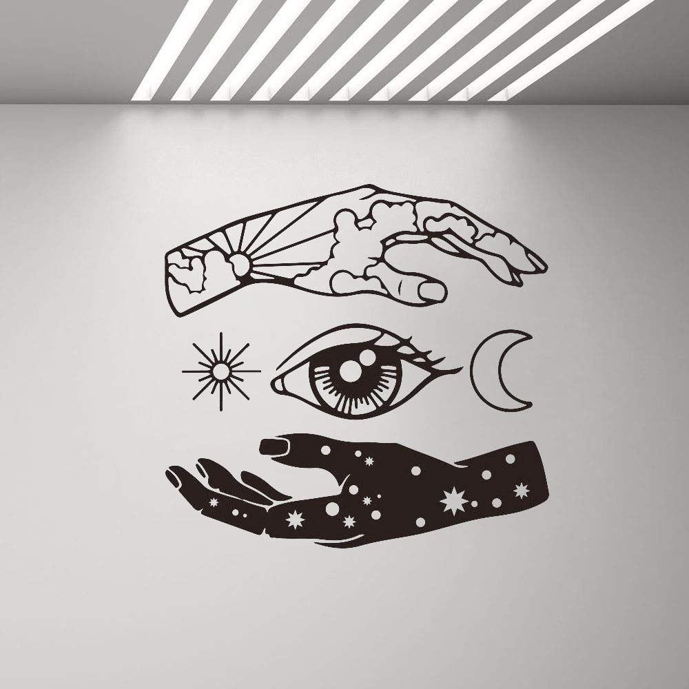woyaofal Mano Luna Sun Eye Star Tatuajes de Pared Vinilo Abstracto ...