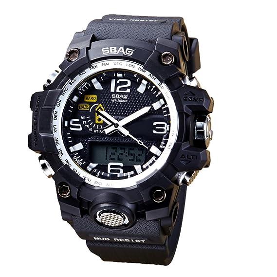 amstt Hombre Digital Reloj Deportivo Hombres Resistente al agua Cuenta atrás electrónico Militar LED reloj Digital con Cronómetro macho Reloj de pulsera: ...