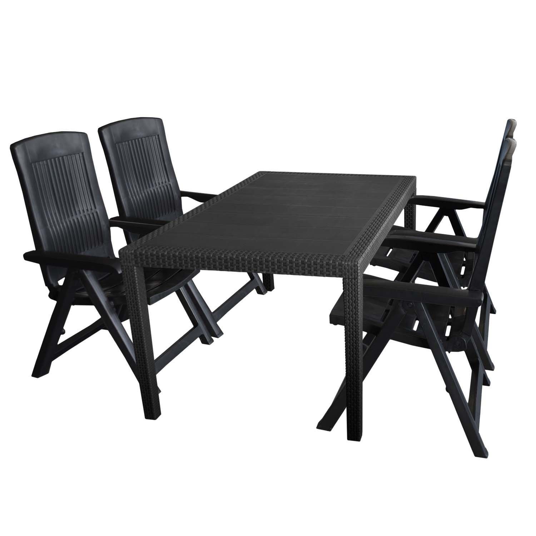 5tlg Gartengarnitur Kunststoff Tisch Rattan Optik 150x90cm 4x