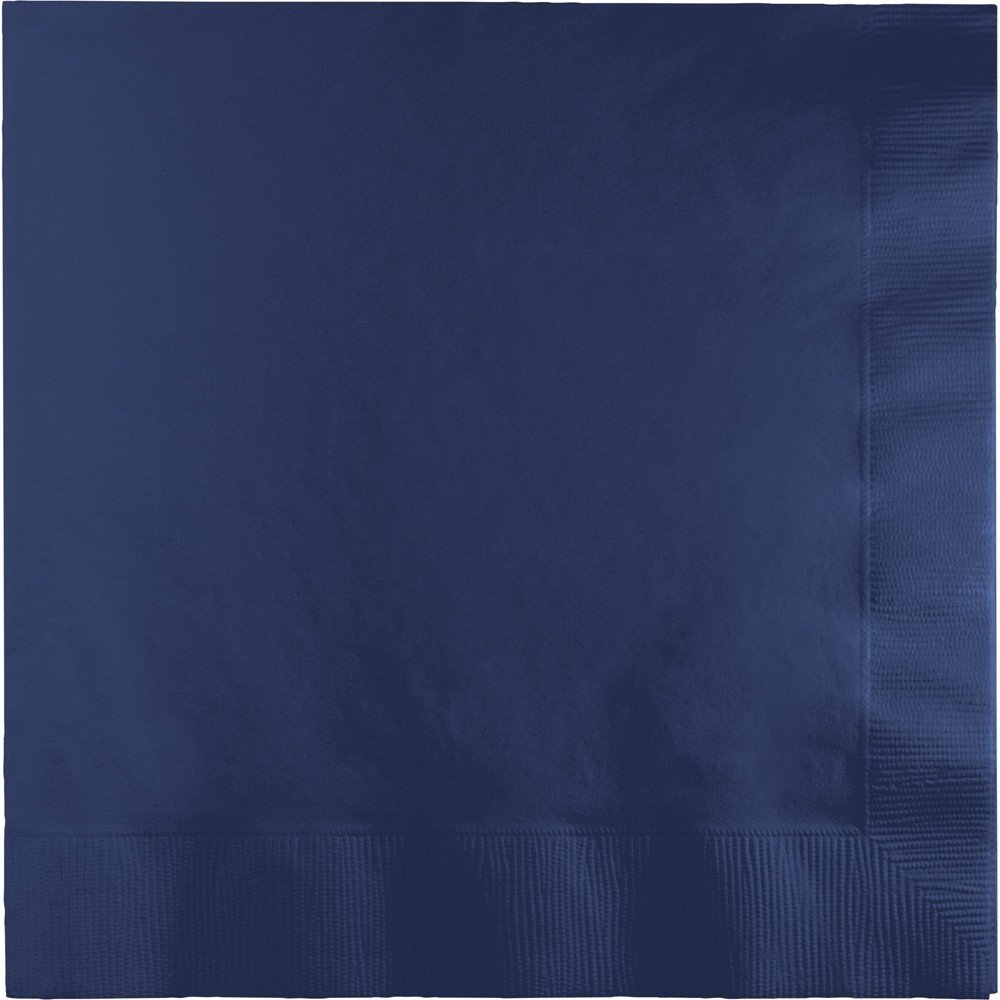 E & D Creations 200 Pack 3-Ply Super Thick Super Absorbent 5-inch x 5-inch Beverage Napkin Cocktail Napkin 1/4 Fold (Navy)