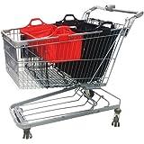 VAIIGO 2 Buste Per Carrello della Spesa, Borsa Spesa Per Carrello Borse Carrelli Spesa Baggy Borse Tote, Vari Colori, 32 x 48 x 41cm (nero/rosso)