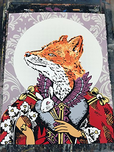 """16"""" x 20"""" - Royal Fox Queen - Limited Edition Hand Silk Screened Art Painting Art by Rob Johnston Artist"""
