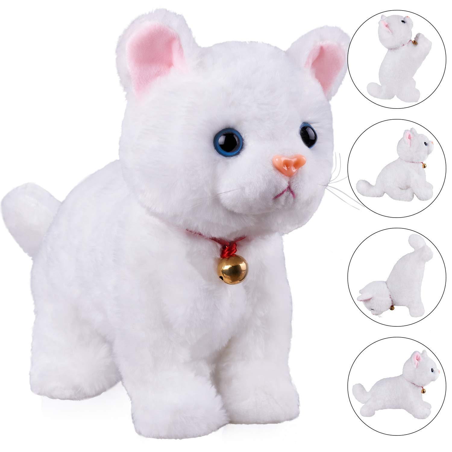 Amazon Com White Plush Cat Stuffed Animal Interactive Cat Robot Toy